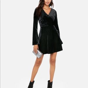 EXPRESS Velvet Surplice Fit and Flare Dress NWT